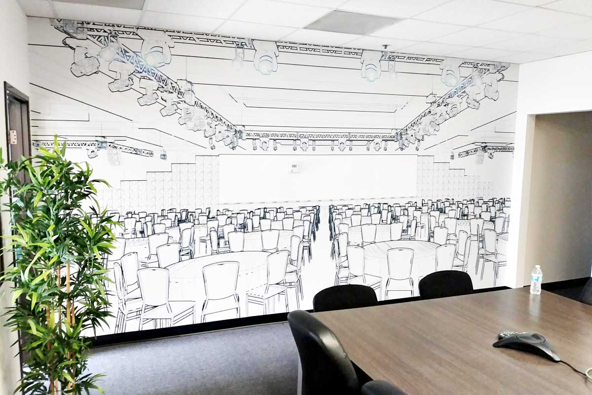 Custom wall graphic for conference rooms