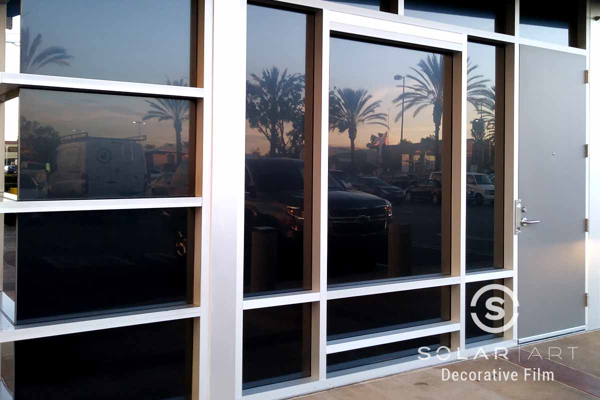 balckout window film for storefront in costa mesa california
