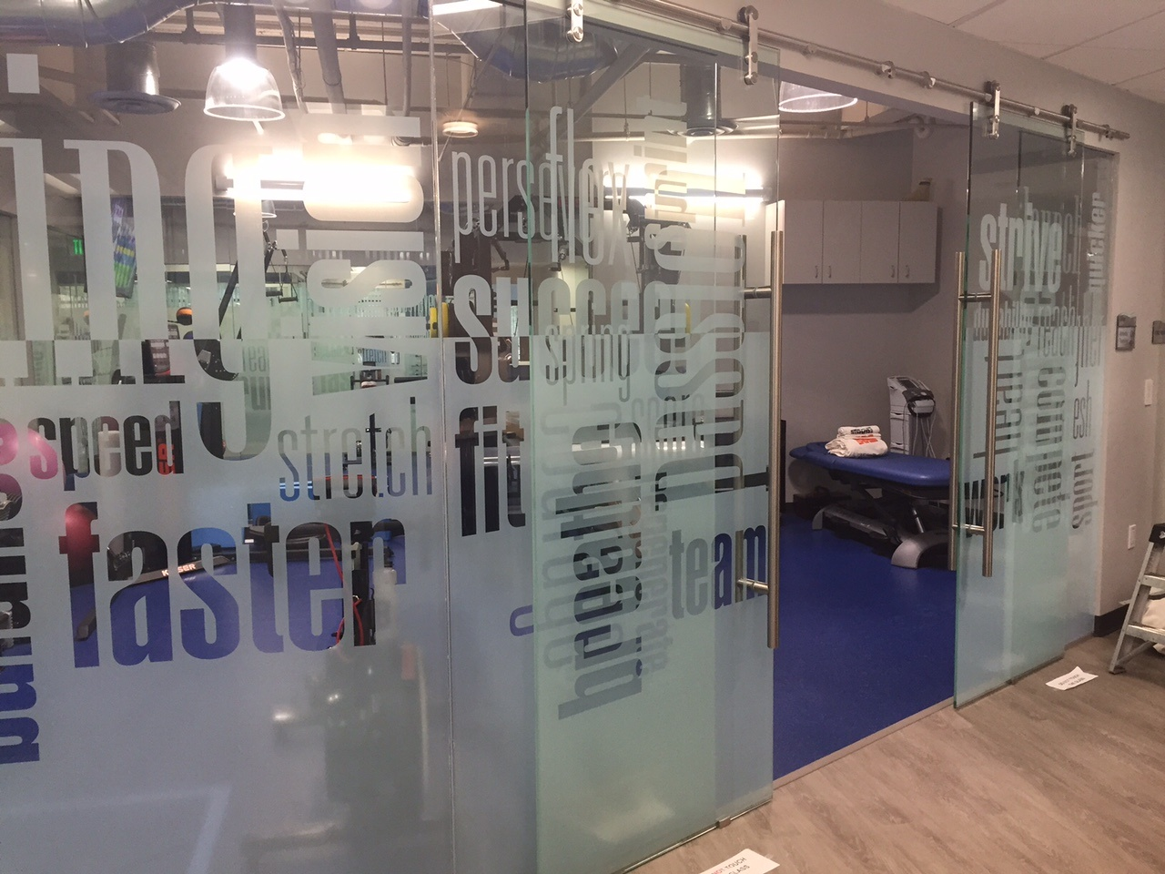 Custom Printed Film of Frost Lettering on Glass