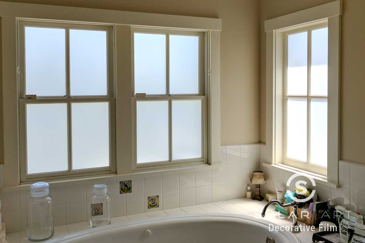 Frosted privacy film for bathroom windows
