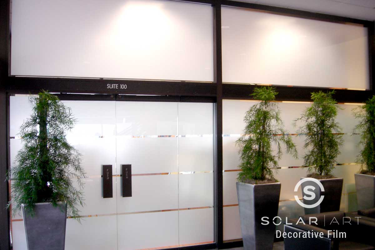 Storefront privacy frosted window film