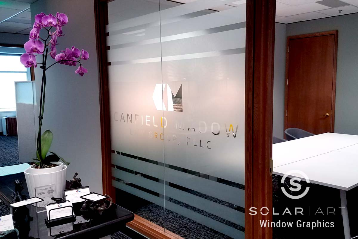 Frosted window film design for office