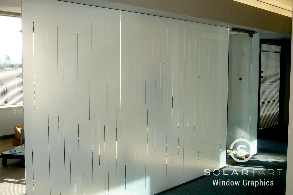 Frosted window film with clear reveals