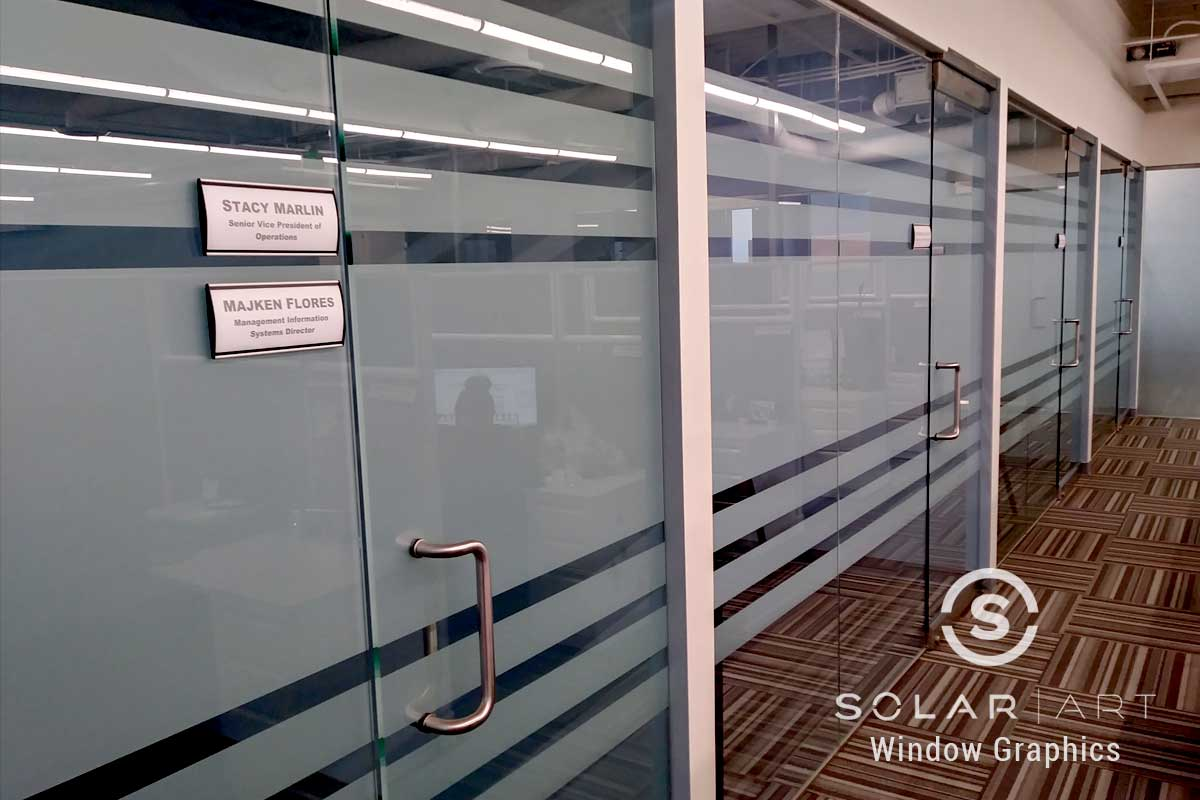 Frosted window film bands on conference room