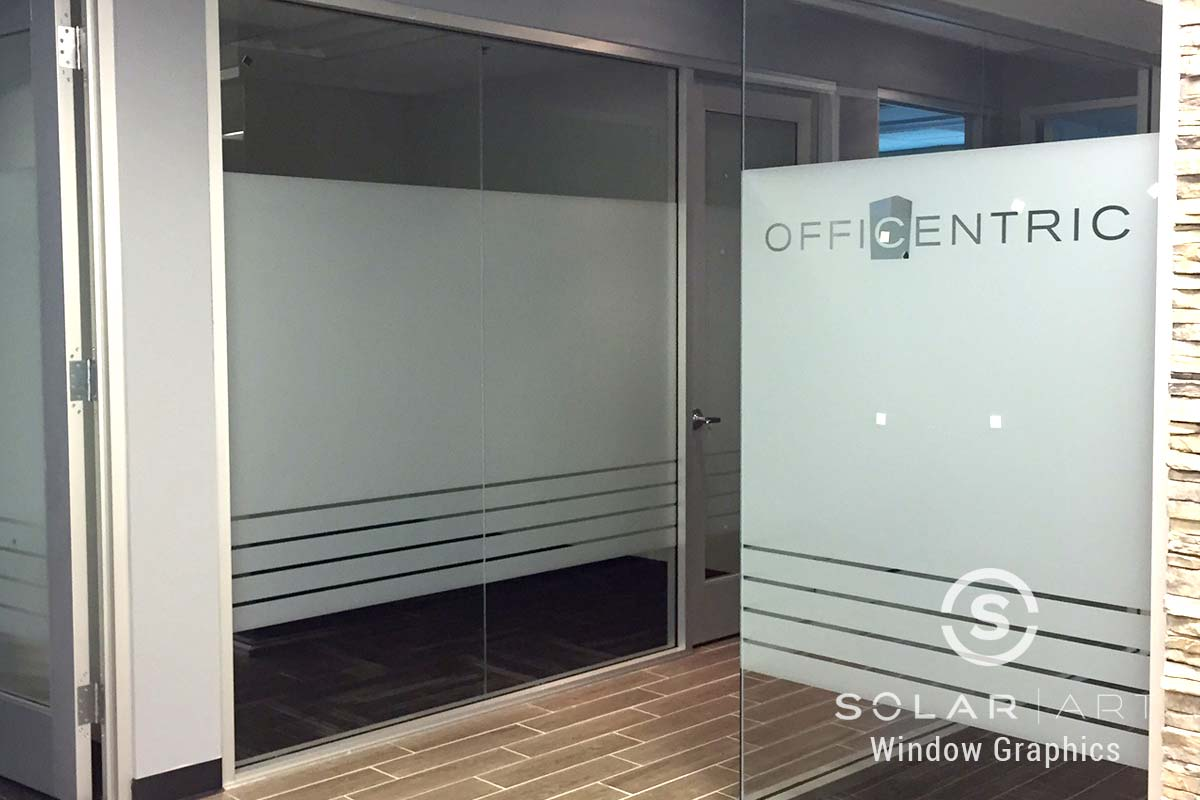 Frosted window film with company logo