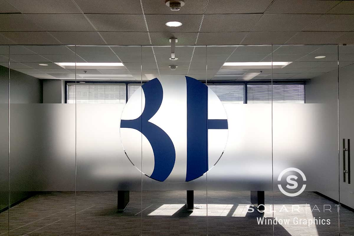 Frosted window film with custom logo