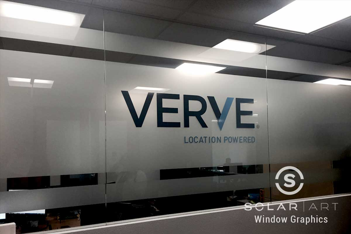 Frosted window film with vinyl logo