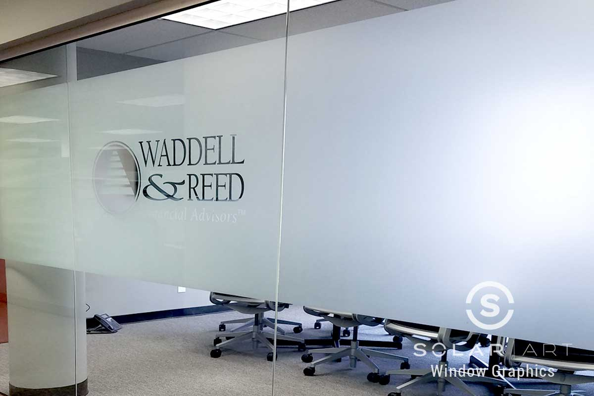 Frosted glass with printed logo
