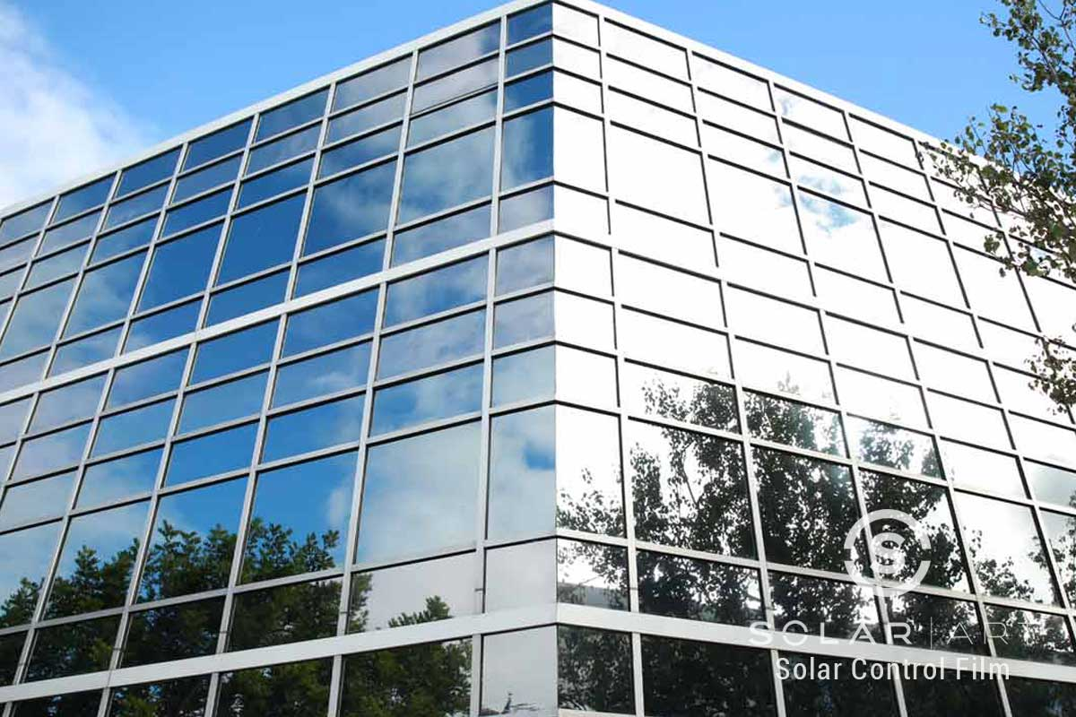 Privacy window film for office buildings