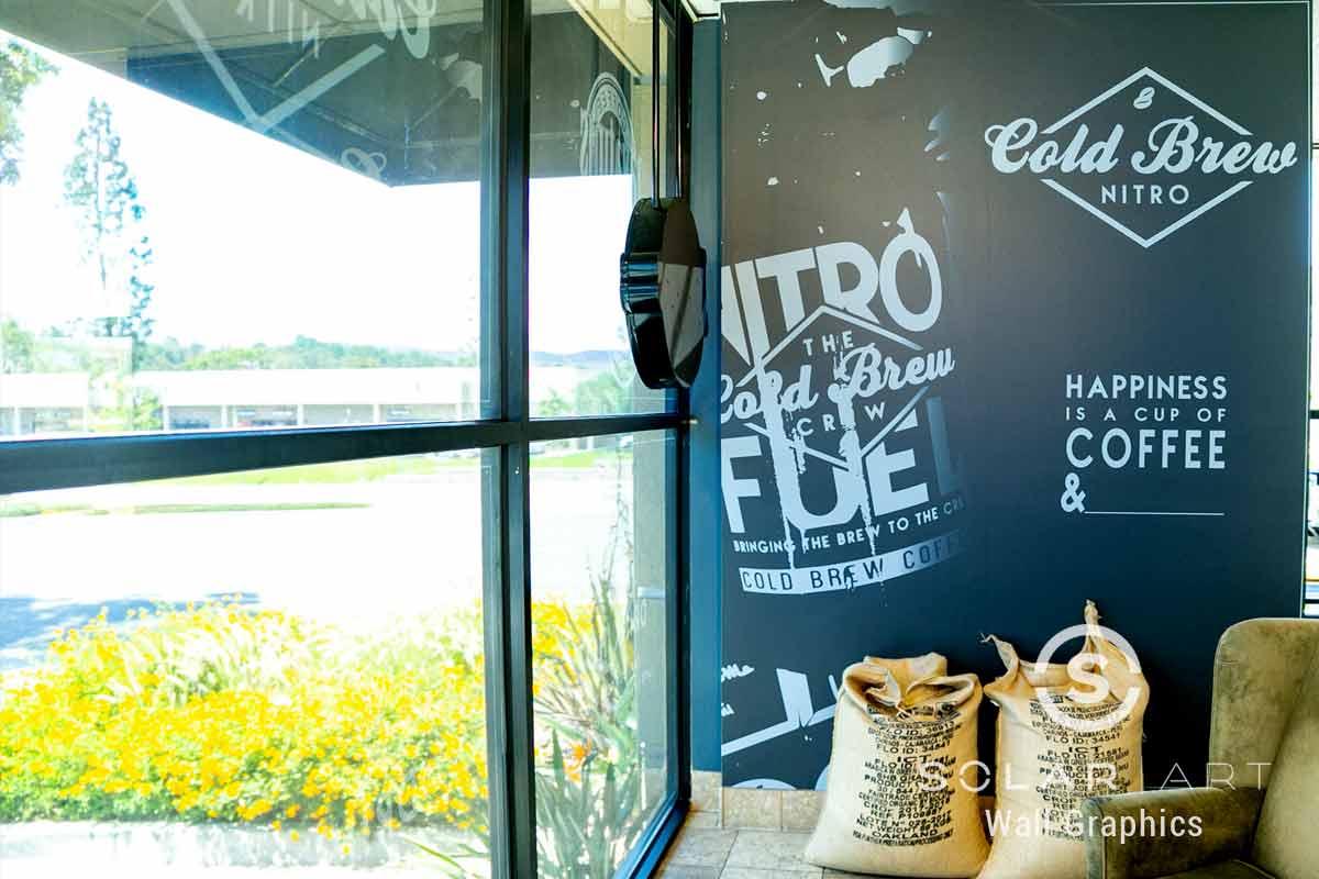 Coffee shop wall mural