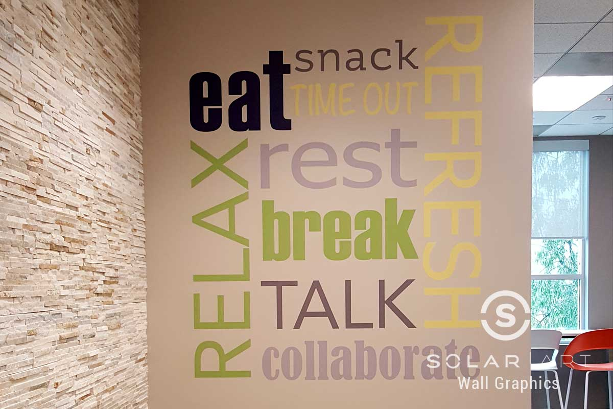 Break room word art wall graphic