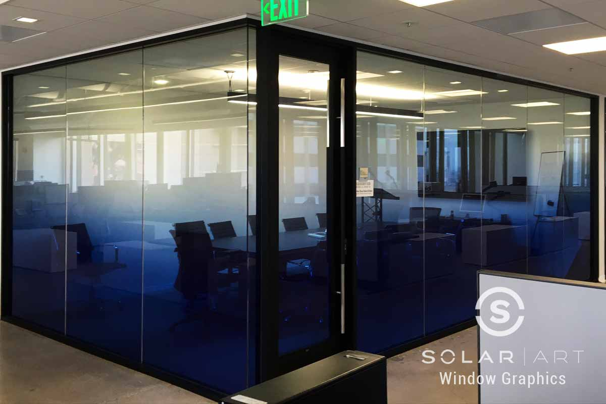 Blue gradient window film