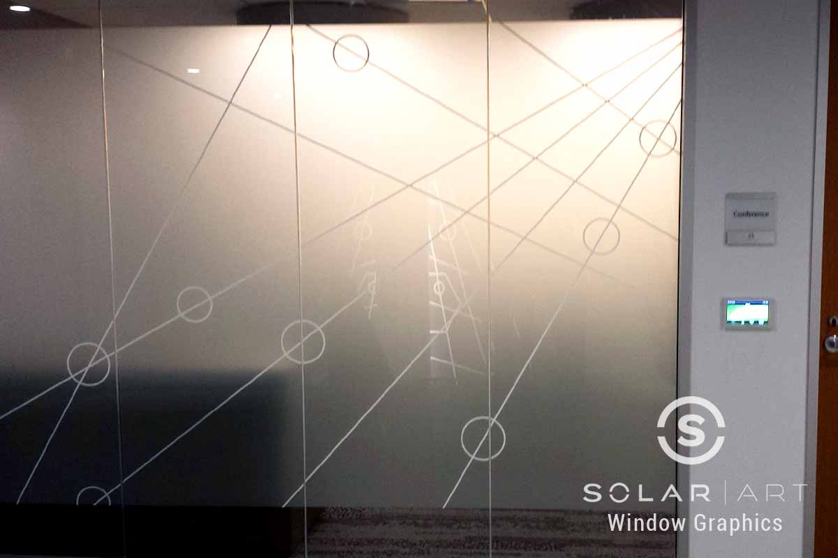 Frosted window graphics with white pattern