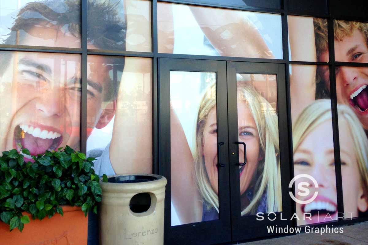 Perforated window vinyl graphics