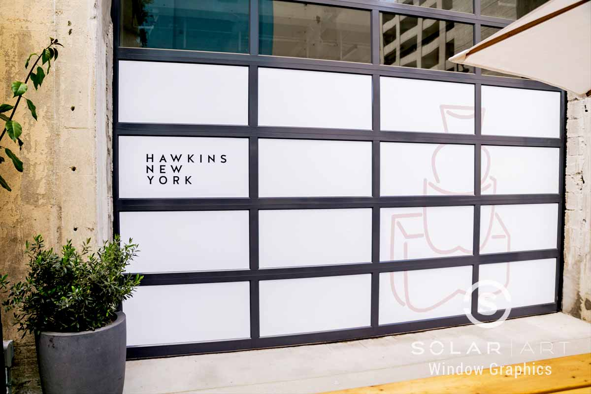 Window graphics to hide construction