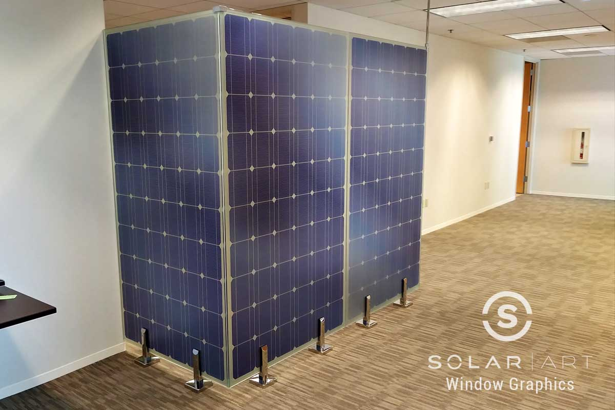 Window graphics printed solar panels
