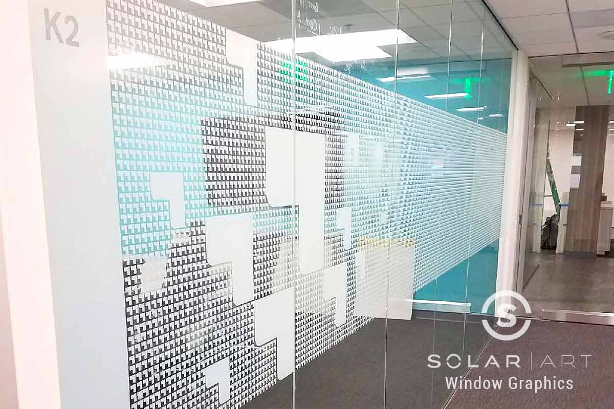 Window graphics with business logo