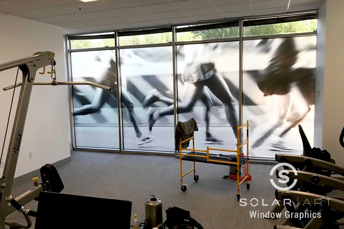 Window graphics for fitness center