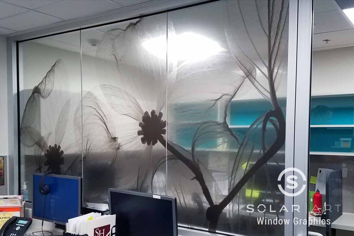 Window graphics with flowers