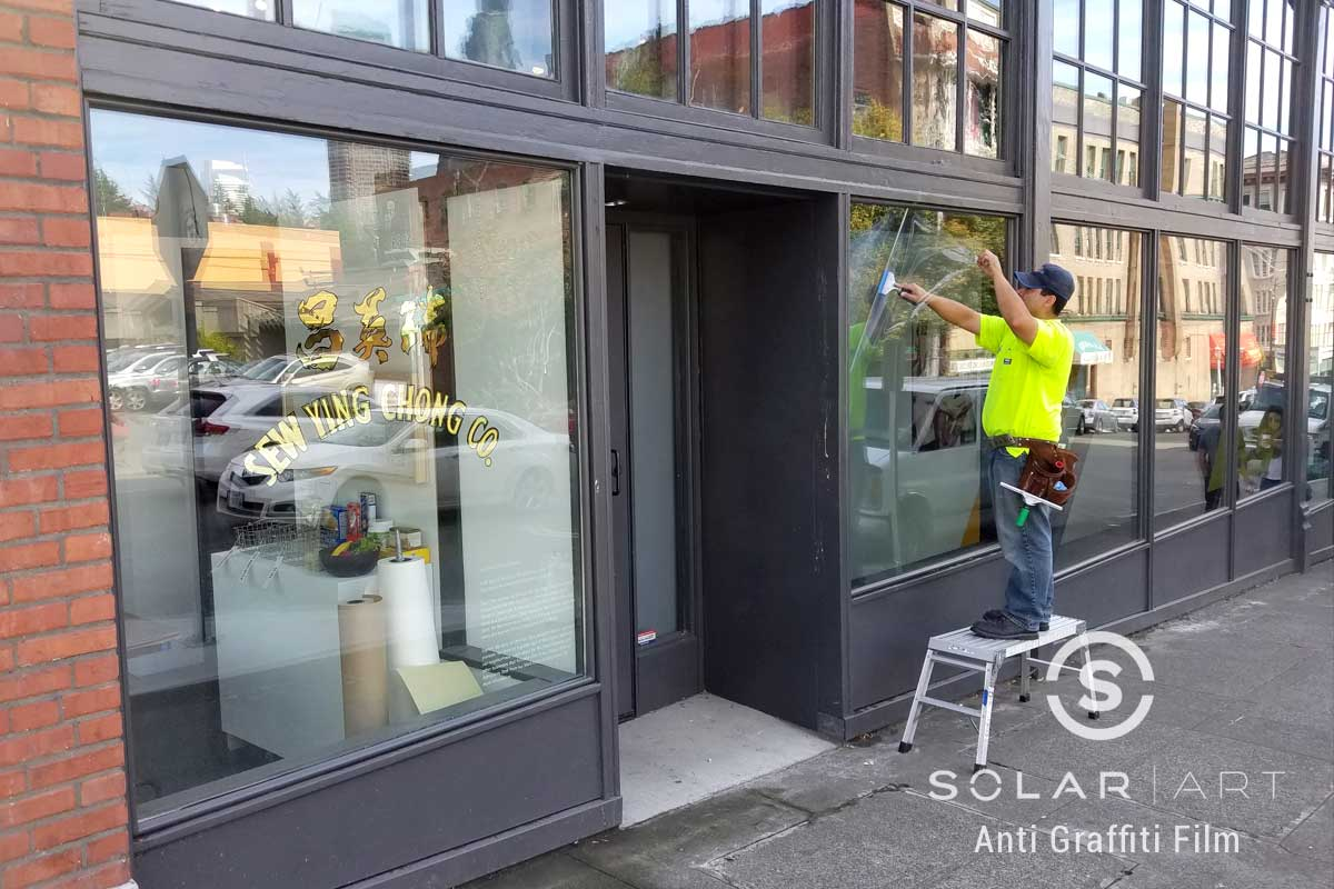 anti graffiti window film for storefront in seattle washington