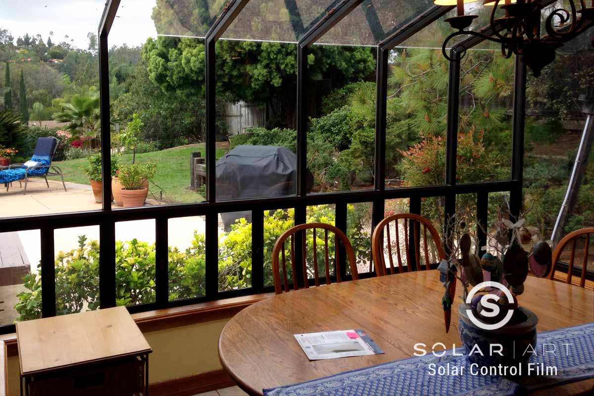Neutral window film for dining room
