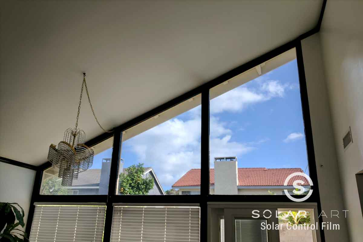 Heat blocking window tint for living room windows
