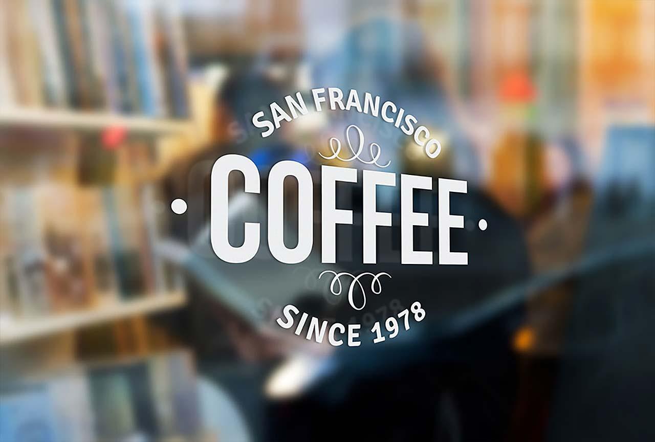 San Francisco window graphics for coffee shop