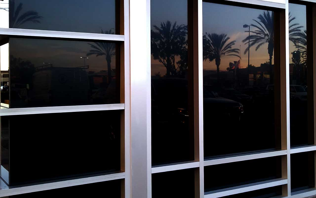blackout window film for commercial glass