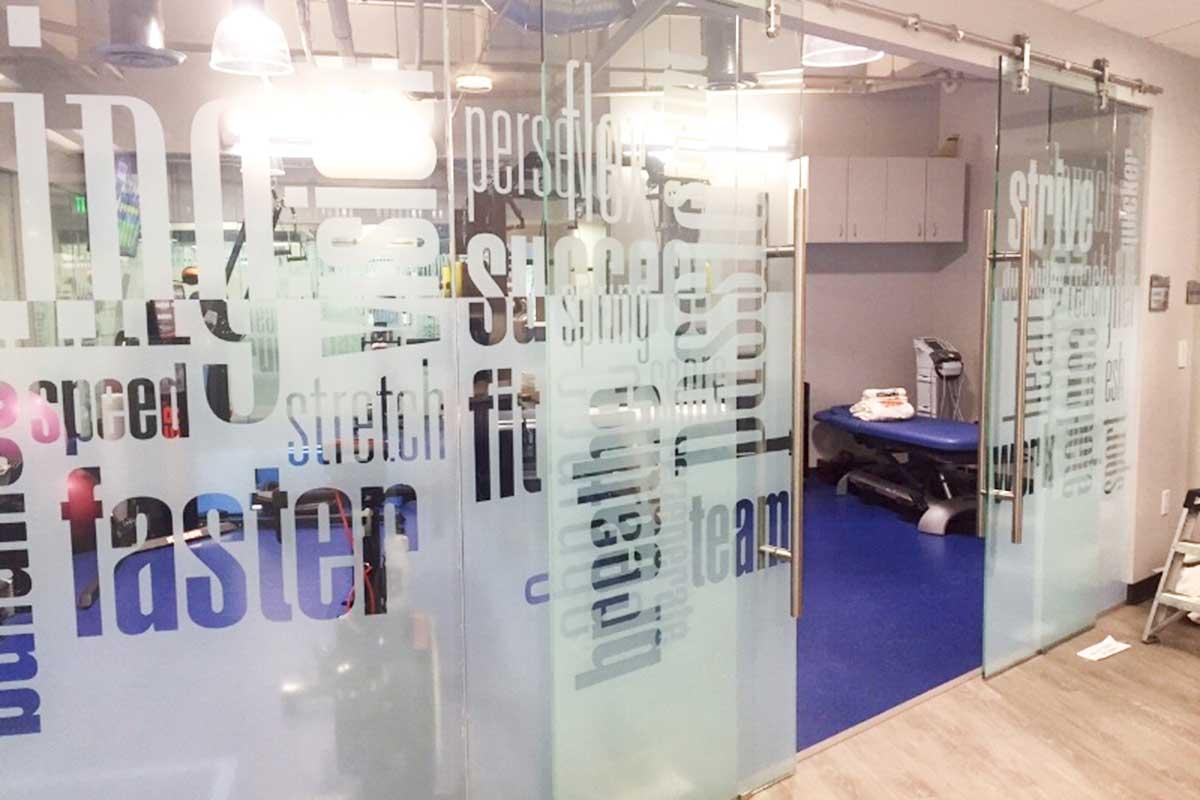 Custom vinyl graphics for glass windows and doors