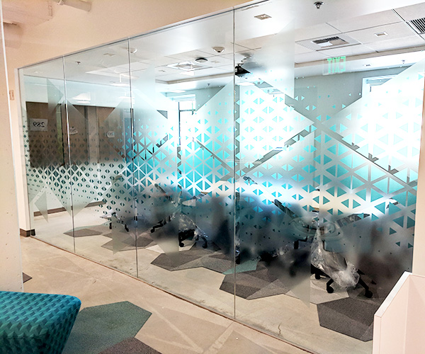 Custom vinyl graphics for conference rooms