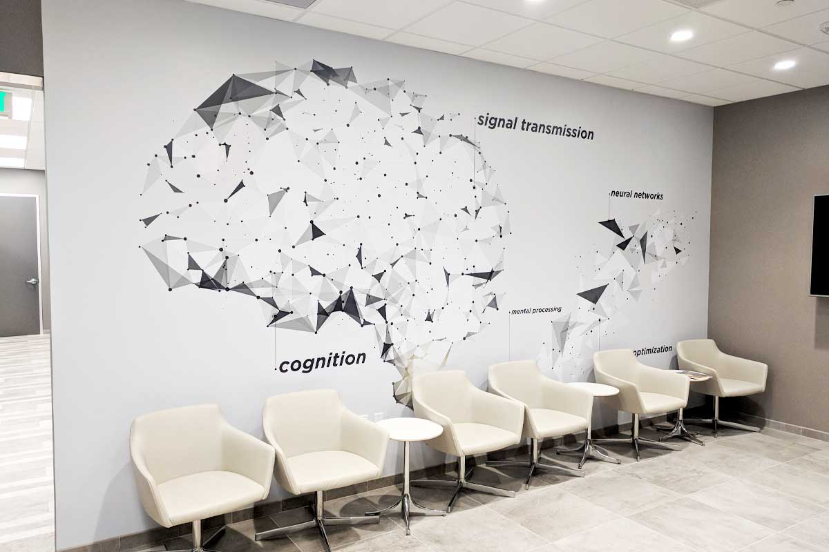 Custom wall graphics in doctors office waiting room