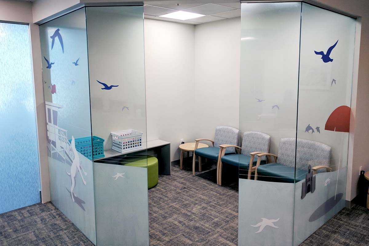 Window graphics for hospital waiting rooms