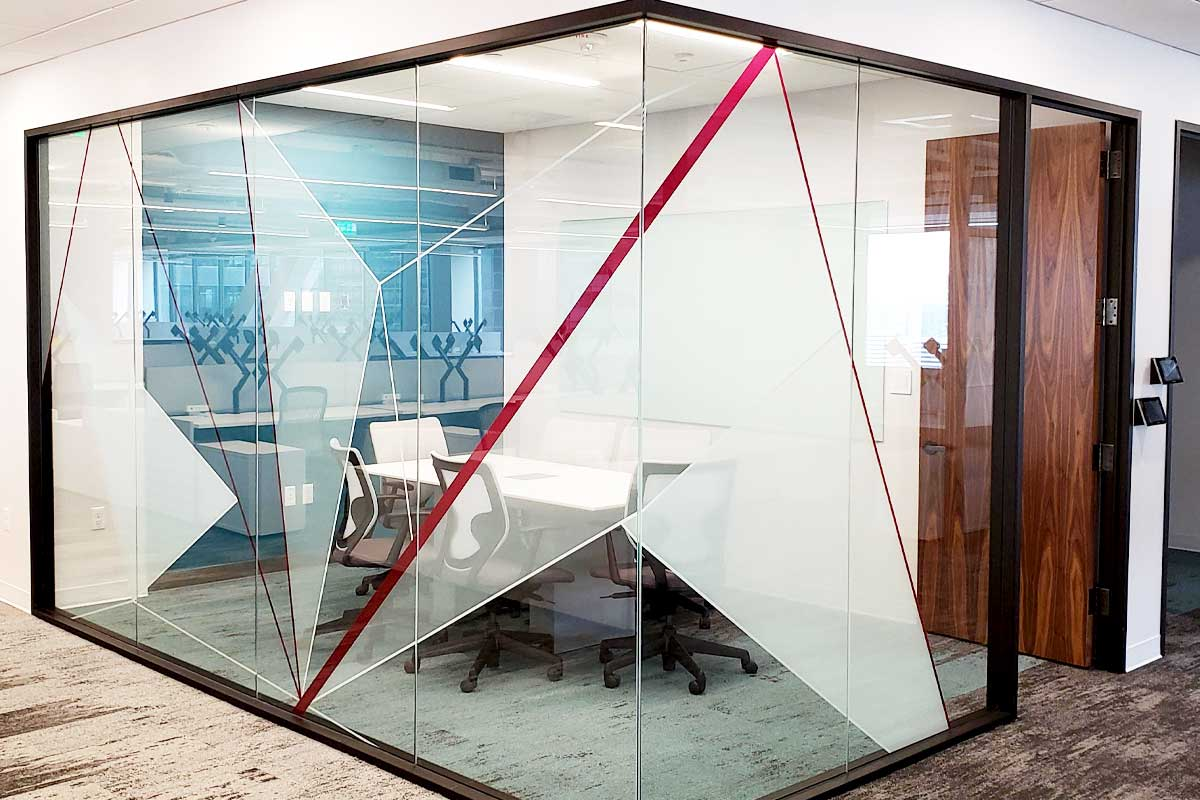 Window graphics for conference room glass