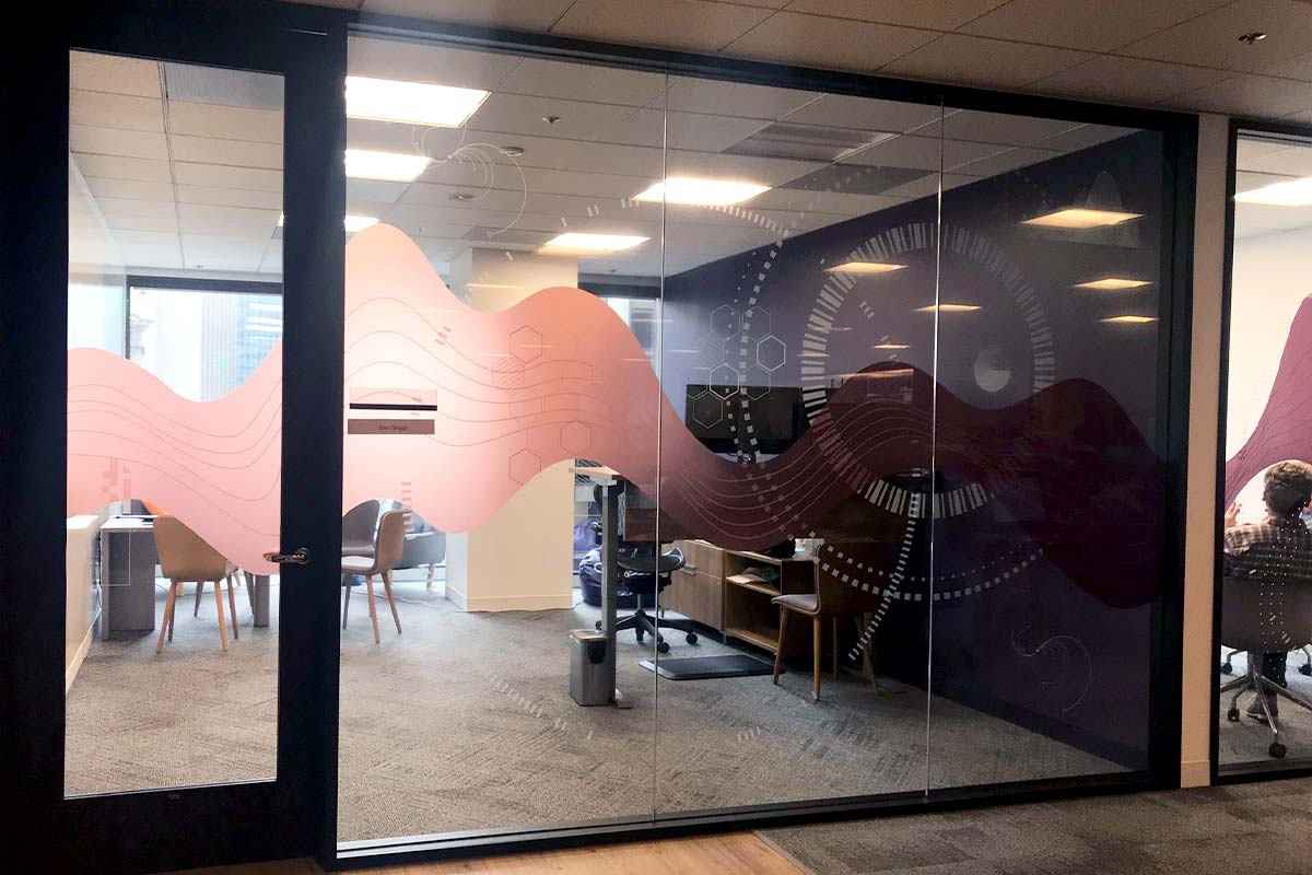 Window graphics for private office glass