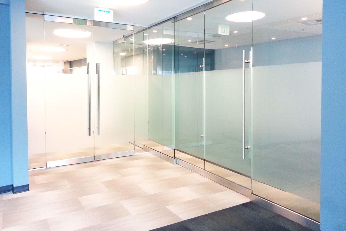 frosted window film lobby glass