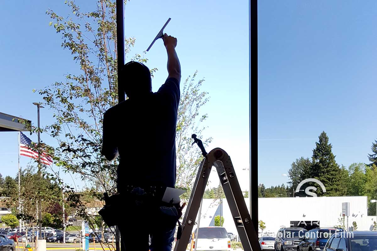 glare reducing window film for storefronts