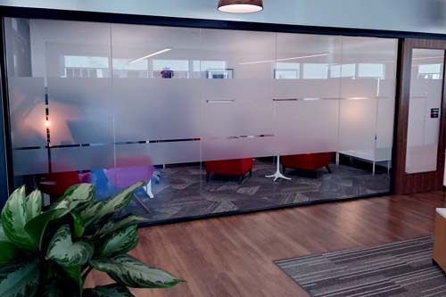 Frosted window film for offices