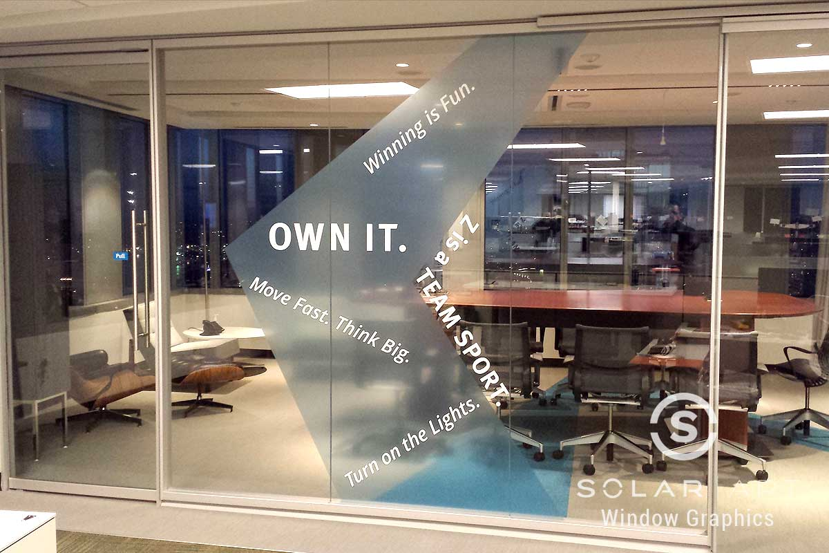 Window graphics for conference rooms