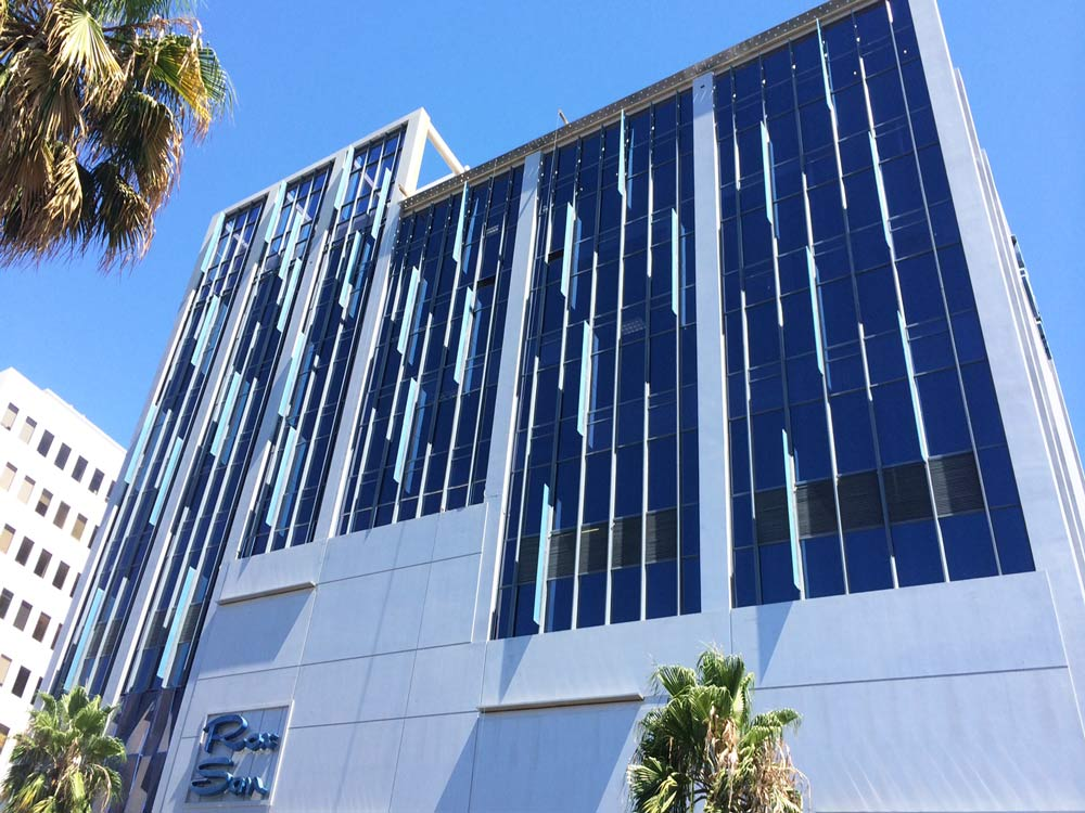 Commercial Solar Control Window Film - Exterior Blue Dual Reflective